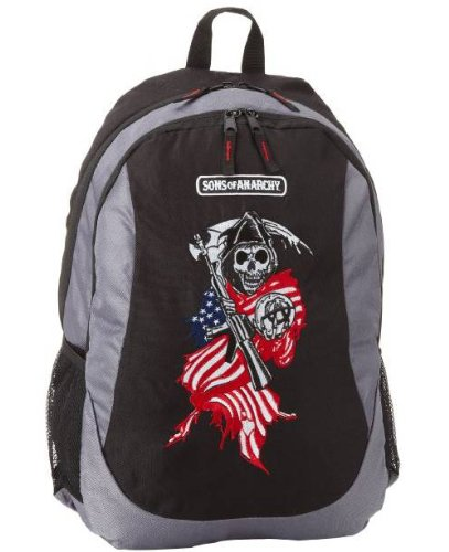 Sons Of Anarchy Mens Flag Reaper Backpack  Black  One Size