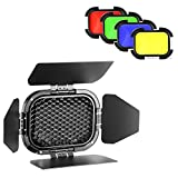 Neewer Dedicated Flash Head 4-Leaf Barn Door with Honeycomb Grid and 4 Color Gel Filters (Yellow,Green,Red,Blue) for AD200 Pocket Speedlite Flash Head (BD-07)