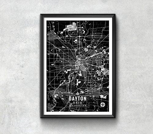 Dayton Ohio Map with Coordinates, Dayton Wall Art, Dayton Map, Map Art, Dayton Print, Dayton Art, Dayton Poster, Dayton Wall Art, Dayton Map