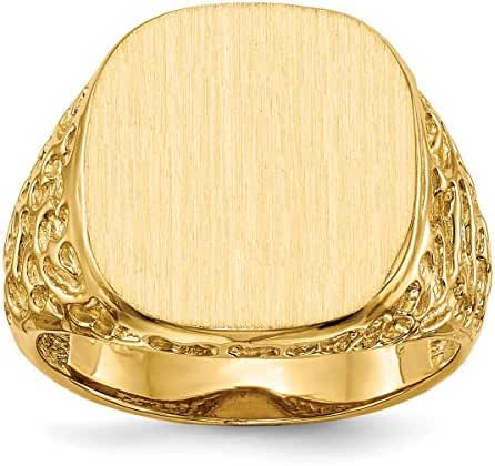 Roy Rose Jewelry 14K Yellow Gold Mens Textured Nugget Sides Signet Ring Engravable Initial Monogram ~ Size 8.5