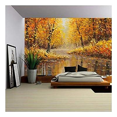 Golden Autumn in River Yellow Oil Painting Art