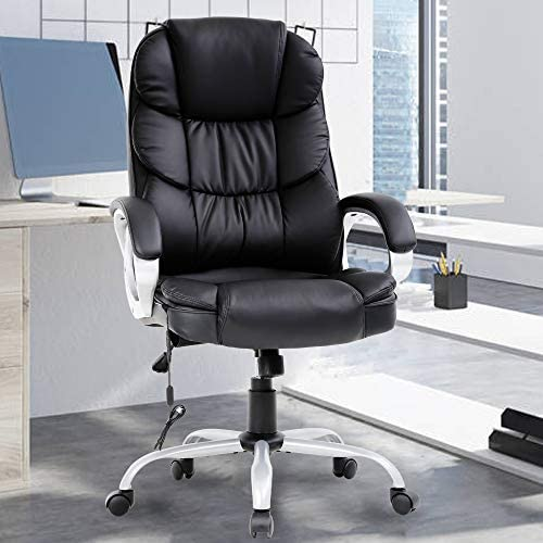 Massage Office Chair 250Lbs Ergonomic High Back PU Leather Rolling Swivel Executive Computer Desk Chair