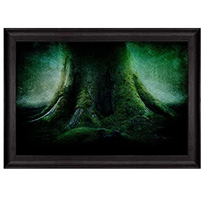 Vignette Around a Green Tree Trunk in The Forest Nature Framed Art, it is good, Alluring Craft