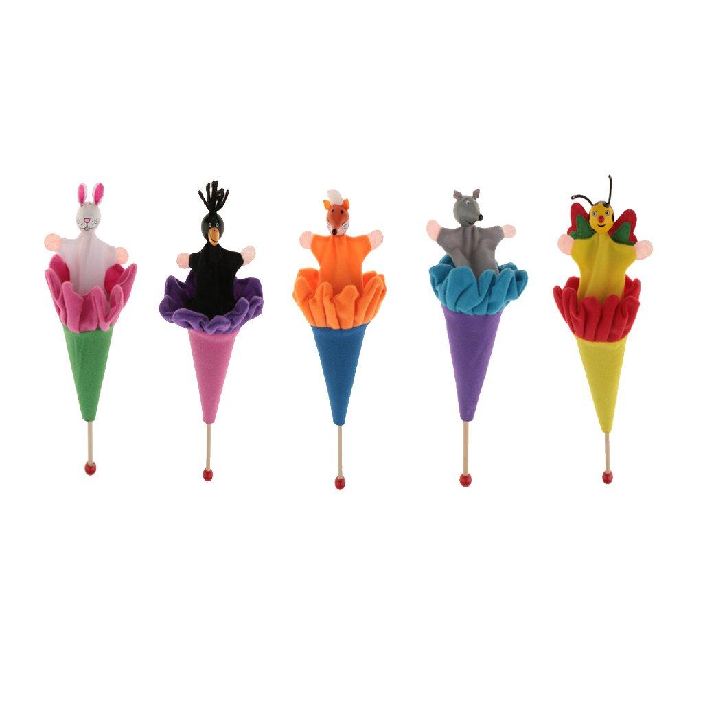 Homyl 5 Unidades Juguete de Animales Escondidos en Palo Multicolor Juego de Imaginación para Niños Niñas