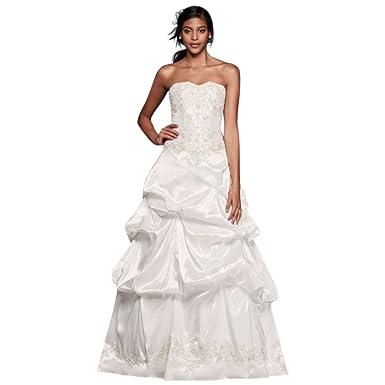 David\'s Bridal Strapless Satin Wedding Dress with Skirt Pick-Ups ...