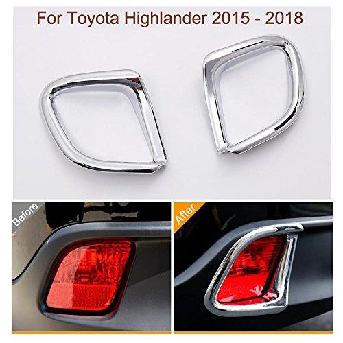 2Pcs Chrome Rear Fog Light Lamp Frame Cover Trim Strip For Toyota Highlander 2015 2016 2017 - Strip Rear Chrome
