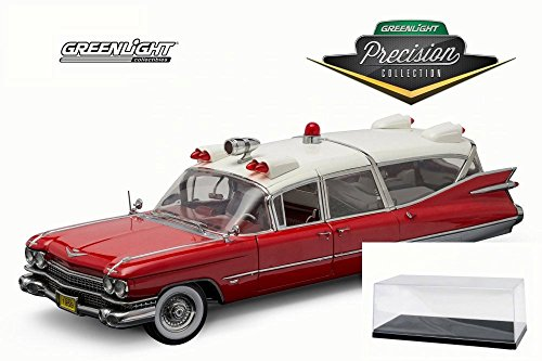 1959 Cadillac Ambulance (Diecast Car & Accessory Package - 1959 Cadillac Ambulance, Red & White - Greenlight 18001 - 1/18 Scale Diecast Model Toy Car w/display case)