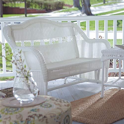 CHOOSEandBUY White Resin Wicker Outdoor 2-Seat Loveseat Glider Bench Patio Armchair New Perfect Beautiful Classic Elegant Useful