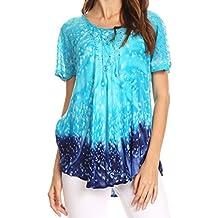 Sakkas Mira Tie Dye Two Tone Sheer Cap Sleeve Relaxed Fit Embellished Tunic Top
