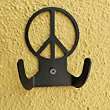 HeavenlyKraft Peacelogo Steel Wall Hook Dual Holder for Living Room Coat Hat Robe Hanger Bathroom Towel Kitchen Strong Heavy Duty Garage Storage Organizer Utensil Hook Single, 4 X 3.14 X 1.4 Inch