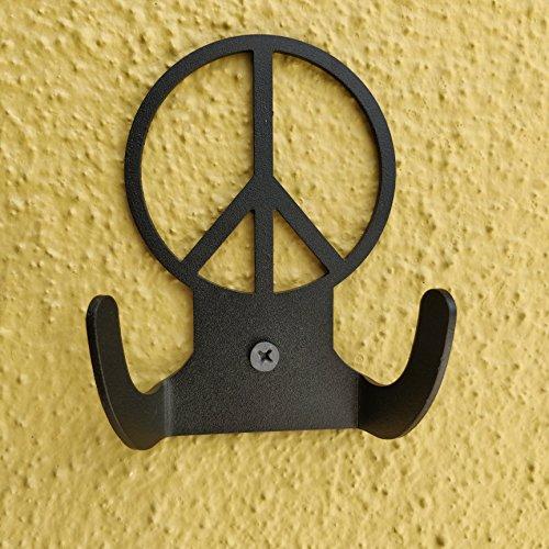 HeavenlyKraft Peacelogo Steel Wall Hook Dual Holder for Living Room Coat Hat Robe Hanger Bathroom Towel Kitchen Strong Heavy Duty Garage Storage Organizer Utensil Hook Single, 4 X 3.14 X 1.4 Inch by HeavenlyKraft (Image #4)