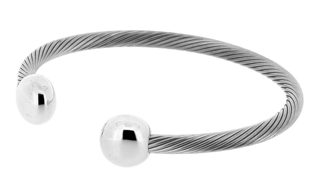 QRAY Bracelet - Deluxe Silvertone Bracelet for Men and Women Q-Ray Q.Ray Size Small (6.5 Inches)