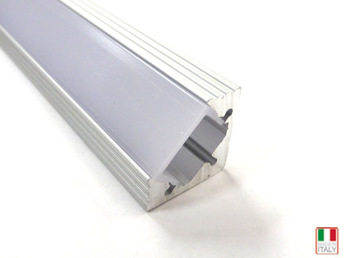 PROFILO ALLUMINIO ANGOLARE 2MT COVER OPACO PER STRIP LED MADE IN ...