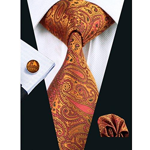 Hi-Tie Mens Orange Paisley Silk Tie Hanky Cufflinks set (paisley) (Silk Paisley Tie)