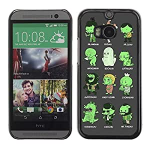 A-type Colorful Printed Hard Protective Back Case Cover Shell Skin for All New HTC One (M8) ( Funny Cthulhu Creatures Illustration )