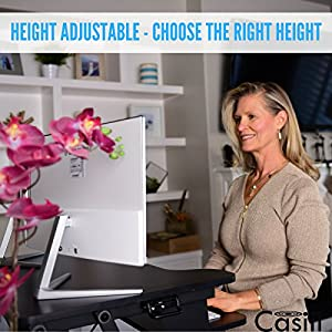 "Best Adjustable Standing Desk Riser - Gas Spring Converter to Stand Up or Sit Down, 32"" Black 2-Tier Desktop, Dual Computer Monitors Space w/ Keyboard Tray"