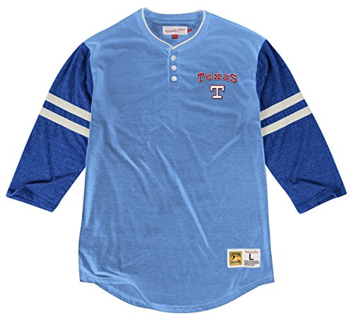 Mitchell & Ness Texas Rangers MLB Home Stretch 3/4 Sleeve Henley Shirt