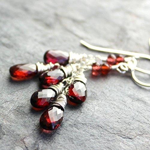 Garnet Earrings Dangling Teardrops Sterling Silver Red 2 Inch Faceted Briolettes (Bohemian Garnet Earrings)