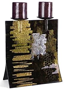 Cressida Glassware Signature Handpainted Fused Glass-Pieces A Measure of Deep Brown Series Gold Leaf, Deep Brown, White 12-1/2-Inch by 11-Inch Double Candle Fused Glass Candleholder