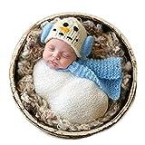 Christmas Newborn Baby Photo Prop Boy Girl Photo Shoot Outfits Crochet Knit Costume Unisex Cute Infant Snowman hat Scarf (Light Blue)