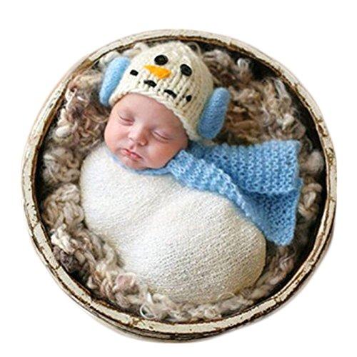 (Christmas Newborn Baby Photo Prop Boy Girl Photo Shoot Outfits Crochet Knit Costume Unisex Cute Infant Snowman hat Scarf (Light)