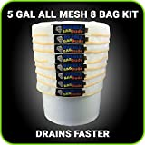 BUBBLEBAGDUDE Bubble Bags All Mesh 5 Gallon 8 Bag Herbal Hash Ice Bubble Bag Extractor Kit - Comes with Pressing Screen and Storage Bag (8)
