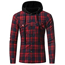 Theshy Men's Autumn Winter Long Sleeved Plaid Hooded Shirt Top Blouse