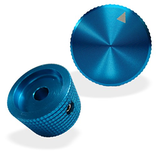 Knob Aluminium (Riverstone Audio - Pair (2 PCS, Blue) Potentiometer Knobs - For 1/4 inch dia. Shaft - Solid Aluminum - CNC Machined, 25mm dia. x 15mm height, Volume Control Knob - Anodized Finish BLUE, 1/4 inch shaft)