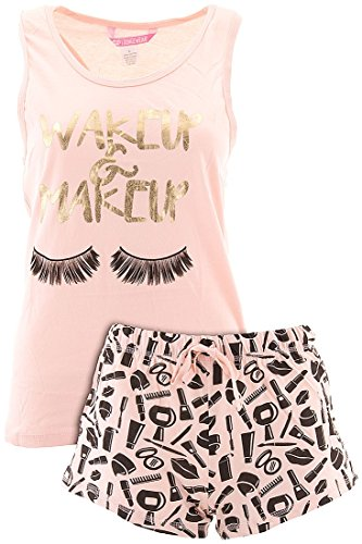 Love Loungewear Juniors Wakeup and Makeup Blush Shorty Valentines Pajamas L