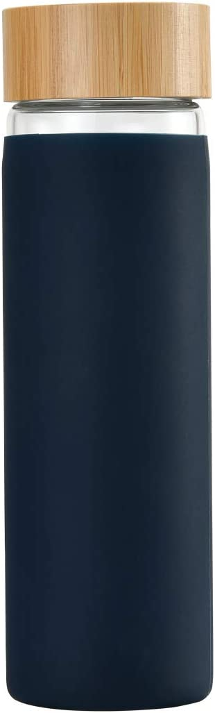 YIXUN BPA-Free Borosilicate Glass Water Bottle with Protective Silicone Sleeve and Bamboo Lid - Dishwasher Safe 20oz (Blue-Black)
