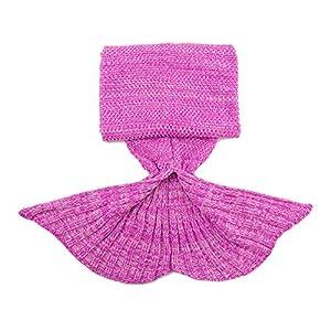 Mermaid Tail Blanket for Kids and Adult,Hand Crochet Snuggle Mermaid,All Seasons Seatail Sleeping Bag Blanket by Jr.White (Pink)