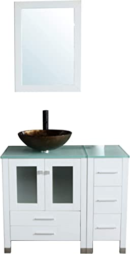 Sliverylake 36 Bathroom Vanity and Sink Combo Storage Cabinet Counter Top Tempered Glass Vessel Sink Set 9