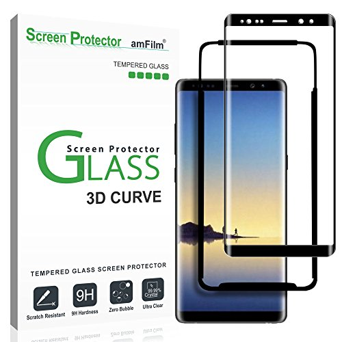 Amfilm Galaxy Note 8 Screen Protector Glass  Full Screen Coverage  Easy Installation Tray   Dot Matrix 3D Curved Samsung Galaxy Note 8 Tempered Glass Screen Protector 2017