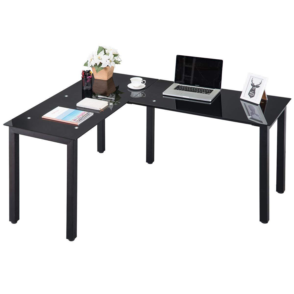 ModernLuxe L Shaped Desk Home Office Corner Computer Desk with Tempered Glass Top Metal Frame Gaming Table Workstation