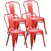 eurosports Tolix Style Chair 3004-MR-4 Metal Kitchen Dining Chairs with Back, Set of 4 Matte Red