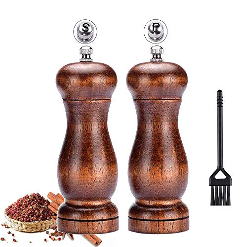Salt and Pepper Grinder Set,Elegant Pepper Mill and Salt Mill Wood with Ceramic Grinding Core,Manual Adjustable Coarse and Fine,Suitable for Picnic, Dinner, Parties, Restaurant, BBQ and Hotel.(2 Pack)