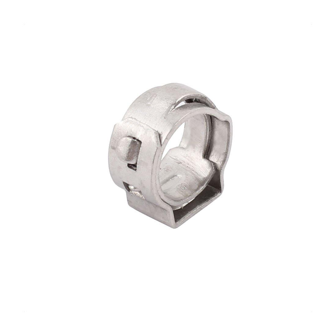 sourcing map 6.3mm-7.5mm 304 Acier inoxydable Ajustable Tube Collier serrages Argent 15pcs