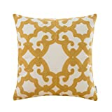 HWY 50 Cotton Embroidered Decorative Throw Pillow Covers Cushion Cases for Couch Sofa Bed Living Room Yellow European Geometric Window Grille 18 x 18 inch 45 x 45 cm, 1 Piece
