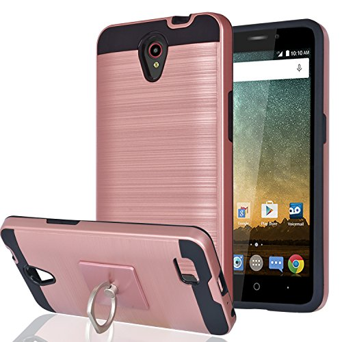 YmhxcY for Prestige/Prestige 2 / Avid Plus/Maven 2/Sonata 3 /Avid Trio Case with Phone Stand,[Metal Brushed Texture] Hybrid Full-Body Shockproof Protective Cover Shell for N9132-LS Rose Gold