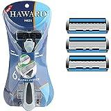 Shavette 6 Layer Sensitive shaving Razor for Men,1 Razor Handle & 4 Razor Blades Refills