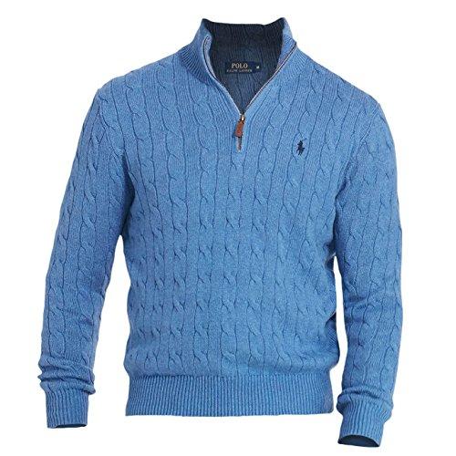 Ralph Lauren Mock Neck - Polo Ralph Lauren Mens Ribbed Trim Mock Neck 1/2 Zip Sweater Blue M
