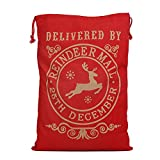 Gosear Reusable Christmas Pattern Cotton Drawstring Candy Bags Pouches for Xmas Party Santa Claus Favor Gift Packaging 50 x 70cm Style A