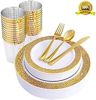 ENUOSUMA 150 Piece Plastic Plates, Dinnerware & Cups Set