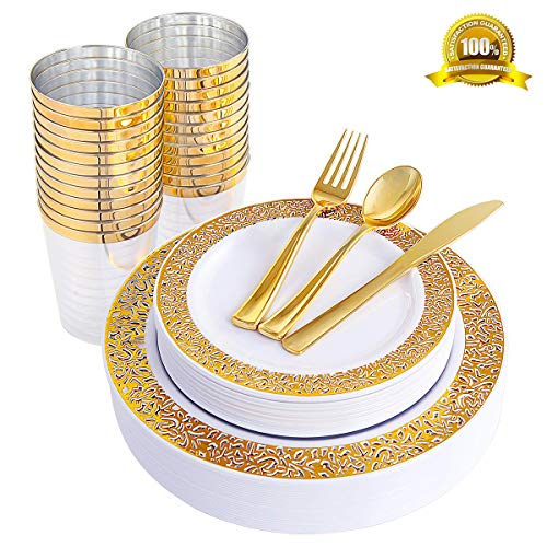 150 Count Premium Quality Heavyweight Tableware Set, Gold Plates with Lace Design Disposable Plastic Silverware, include 25 Dinner Plates,25 Salad Plates,25 Forks, 25 Knives, 25 Spoons&Plastic Cups -