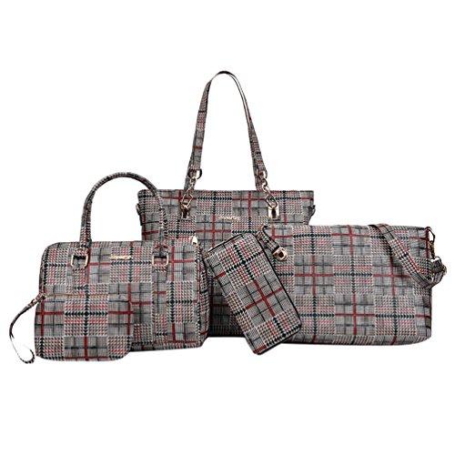 Set Zipper Bag Bags Messenger Red Tote 5 Purse Prinetd Plaid Pieces Clutch Shoulder Wallet Women's Handbag Anguang Travel xPwaq1Yq