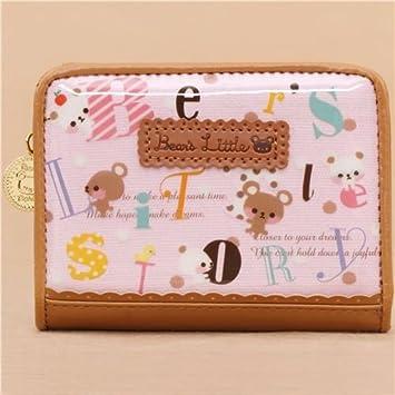 Cartera monedero kawaii rosa y marrón con osos y letras abc ...