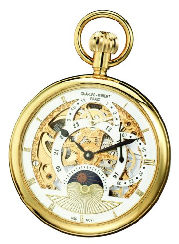 Watch Steel Pocket Stainless 14k - Charles-Hubert, Paris Gold-Plated Dual Time Mechanical Pocket Watch