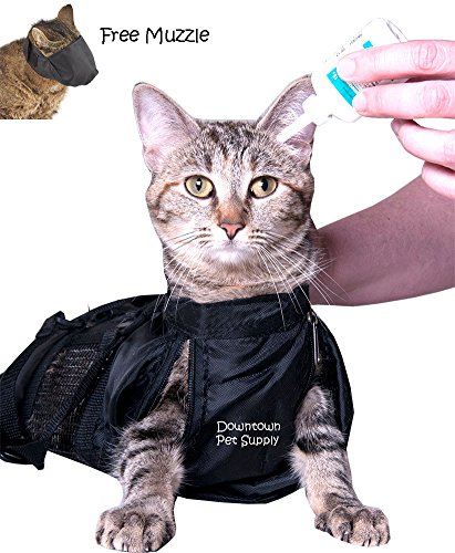 Cat-Grooming-Bag-Cat-Restraint-Bag-Cat-Grooming-Accessory-FREE-Cat-Muzzle-SMALL-MEDIUM-or-LARGE-by-Downtown-Pet-Supply