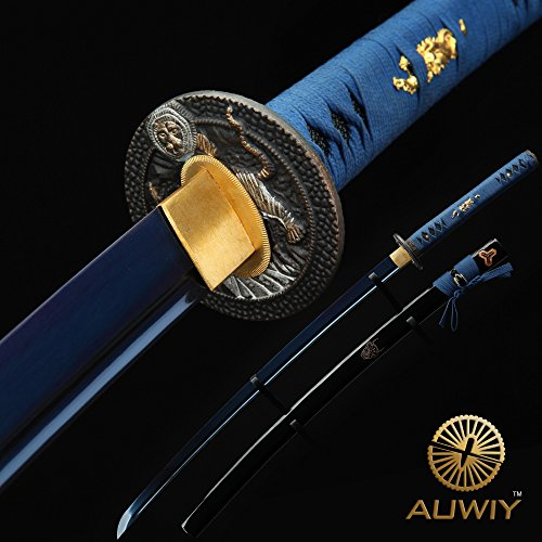 Japanese Katana Sword, Auway Handmade 1060 Carbon Steel Katana Samurai Sword Blue Baked Finish Blade with Exquisite Engraving Wooden Scabbard