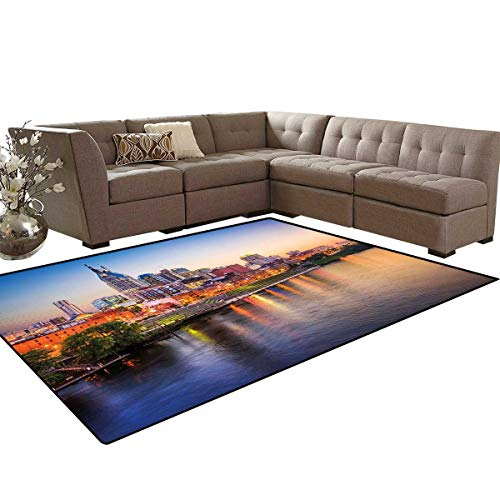 United States Room Home Bedroom Carpet Floor Mat Cumberland River Nashville Tennessee Evening Architecture Travel Destination Door Mats Area Rug 6